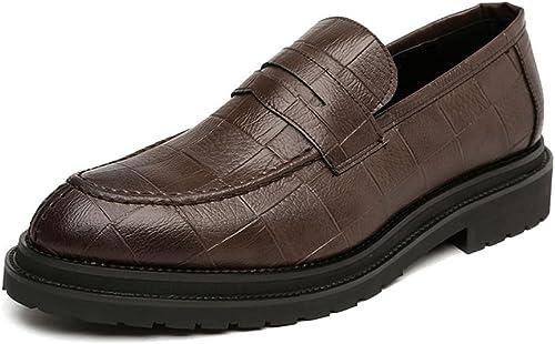 JIALUN-des Chaussures Chaussures Hommes Simples Chaussures en Cuir PU Affaires Slippers à Enfiler Classiques Texture carré Outsole Oxfords (Couleur   Marron, Taille   43 EU)  profitez d'une réduction de 30 à 50%