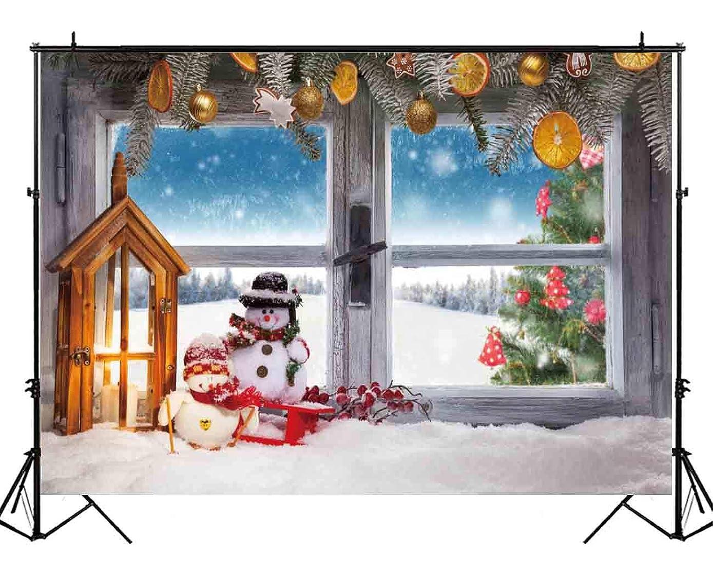 Funnytree 7x5ft Christmas Window Backdrop Winter White Snow Snowman Snowflake Photography Pine Tree Lamp Decoration Background Children Newborn Baby Portrait Photo Studio Photobooth Props