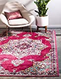 Rugs.com Fleur Collection Rug – 5' x 8' Pink Medium-Pile Rug Perfect for Bedrooms, Dining Rooms, Living Rooms