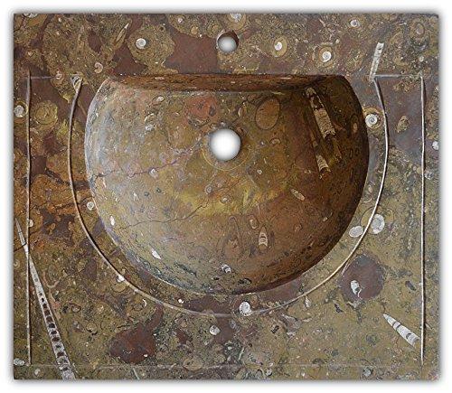 Rechteckige geschnitzt braun Fossilien Spüle mit Ammoniten und Orthoceras Fossilien im gesamten Zeitraum vom Paläozoikum 400 Millionen Jahre- W64 L42 H15 cm