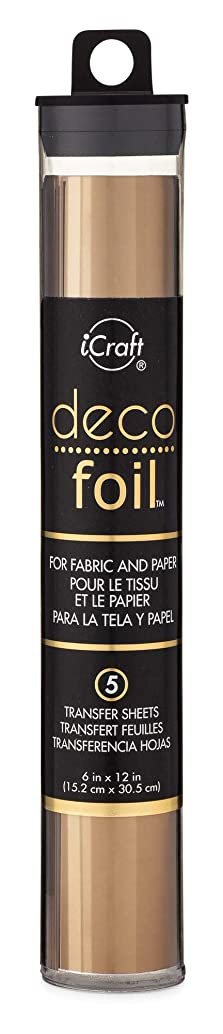 iCraft Deco Foil, 5 Transfer Sheets, 6 inch x 12 inch, Bronze