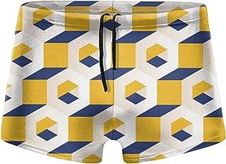 Monochrome Seamless Men's Beach Swimming Trunks Boxer Brief Swimwear Underwear Board Shorts