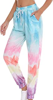FEESHOW Women's Tie Dye Print Lightweight Track Pants Hiking Jogger Sweatpants Athletic Running Pants with Pockets