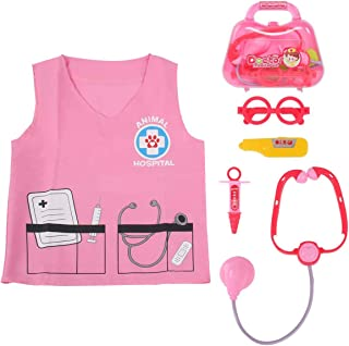 Sinuo Doctor Dress Up Set, Kids Veterinarian Costumes with Accessories Role Play Toy Medical Set Fit Age from 3-7 (Pink)