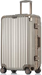 Travel Suitcase, Male and Female Lightweight Hard Shell Carry On Cabin Hand Luggage Suitcase with 4 Wheels,Gold,24inches