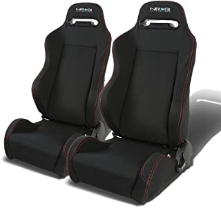 NRG RSC-200-NRG Type-R Universal Racing Seats With Red Stich & NRG Logo Set of 2 (Black)