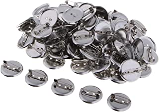 Baosity 100PCS Flat Round Metal Pin Back Brooch/Badges Findings DIY Crafts