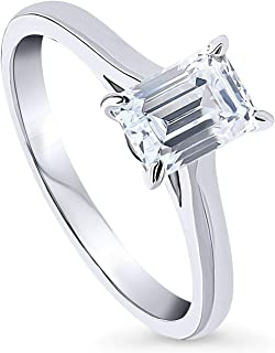 BERRICLE Rhodium Plated Sterling Silver Solitaire Promise Engagement Ring Made with Swarovski Zirconia Emerald Cut 1 CTW