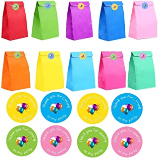 DIYASY 24 Pcs Colored Kraft Paper Gift Bags with 36 Pcs Thank You Party Stickers for Party Celebrations.