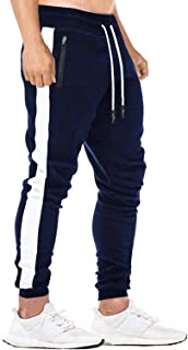 Yidarton Mens Sweatpants Joggers Slim Fit Casual Athletic Workout Gym Sports Pants with Zipper Pockets (Navy, XX-Large)