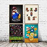 jongya Chomper Cartoon Mario Prints Home Decor Canvas Gifts Painting Wall Art Modern Modular Pictures for Living Room Poster 40X50cm 16x20 inch4pcs No Frame