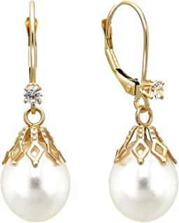 14k Yellow Gold 1/10cttw diamond 9-9.5mm White Freshwater Cultured Pearl Bell Lever-back Earrings (G-H, SI1-SI2)