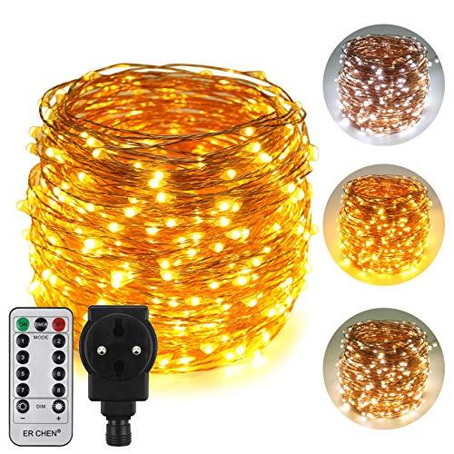 ErChen Strombetrieben Zweifarbige LED Lichterkette, 165 FT 50M 500 LEDs-Plug in 8 Modi Dimmbare Kupfer Draht-Lichterketten mit Fernbedienung Timer für Innen Außen Weihnachten (Weiß Warmweiß)