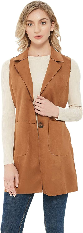 Charis Allure Womens Long Sleeveless Suede Vest Casual Lapel Open Front Duster Vest