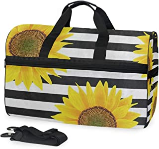 Black White Striped Sunflower Gym Bag with Shoes Compartment Sports Swim Travel Overnight Duffels