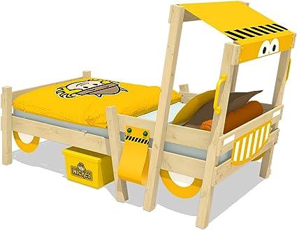 WICKEY Cama para el automóvil CrAzY Sparky Fun Cuna 90x200cm Cama infantil excavadora con somier de madera