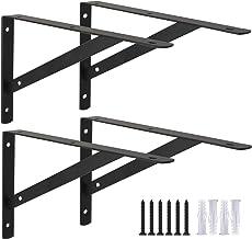Ouvin Wandgemonteerde plankbeugels 4 Pack driehoek plankbeugels voor planken ijzeren plank steunen met schroeven rechtshoe...