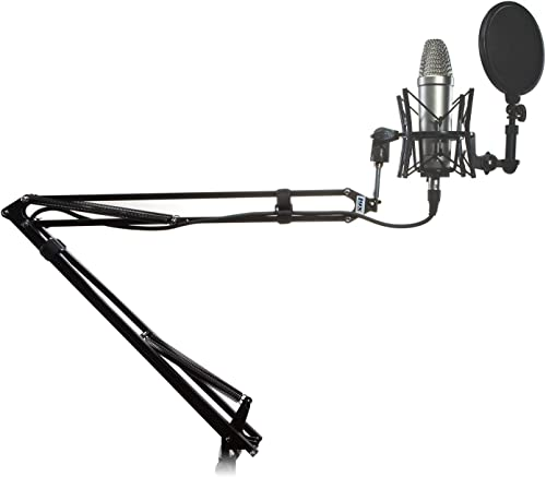 high quality LyxPro Microphone Arm Stand Mount Adjustable Mic Boom Swivel Mount With Recording Condenser Microphone, wholesale Spider Shockmount, 10FT XLR Cable outlet online sale & Dual Layer Pop Filter online sale