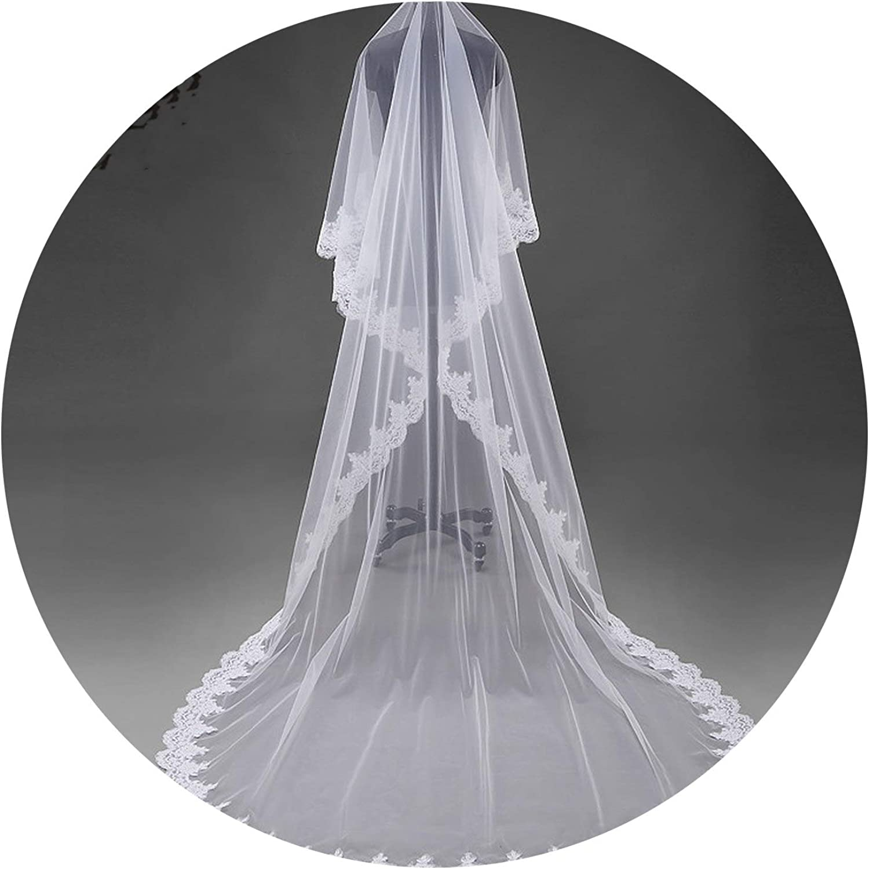 Beautiful flowers lace wedding dress veil about 3M lace veil bride veil ball gown veil,Ivory