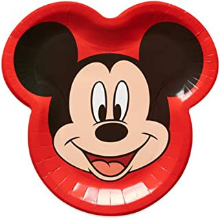 Mickey Mouse 'Red and White Stripes' Large Shaped Paper Plates (8ct)
