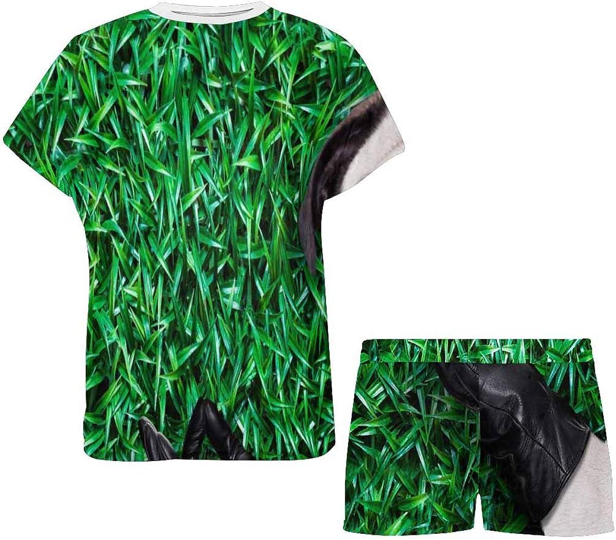 INTERESTPRINT Cool Pug Dog on The Grass Women's Pajama Sets Short Sleeve Shorts - Pajamas for Women
