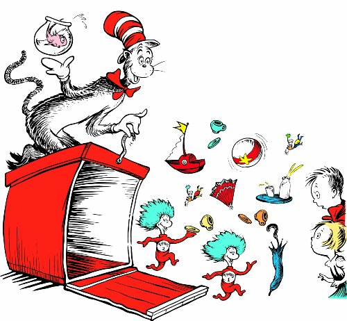 Eureka Teacher Supplies Cat in the Hat Crate Giant Bulletin Board Set, 15 pcs, 4'