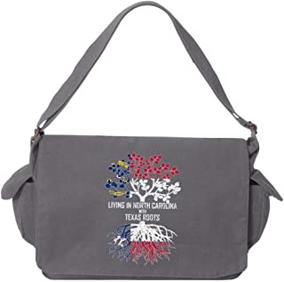 Tenacitee Living In West Virginia with Texas Roots Putty Raw Edge Canvas Messenger Bag