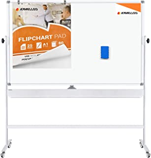 Mobile Whiteboard - Large Adjustable Height 360° Reversible Double Sided Dry Erase Board - Magnetic White Board on Wheels - Portable Rolling Easel with Stand, Flip Chart Holders, Paper Pad | 60x46