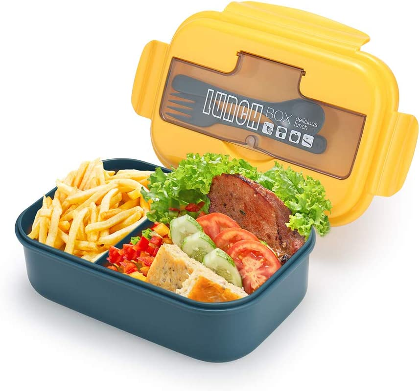 G.a HOMEFAVOR 1100 ml Caja de Almuerzo, Recipiente con 2 Compartimentos, Fiambreras Caja de Alimentos a Prueba de Fugas con Cubiertos para Niños y Adultos para la Escuela, el Trabajo, Amarillo Azul