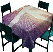 Warm Family City Fabric Dust-Proof Table Cover High Rise Buildings in Manhattan Vintage Stylized Photo Business Finance for Kitchen Dinning Tabletop Decoration W70 x L70 Rose Quartz Pale Yellow