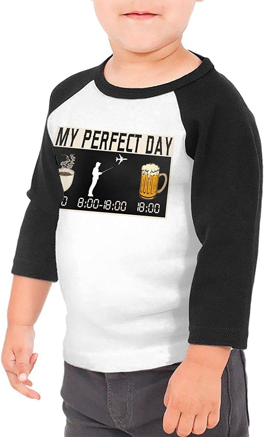 My Perfect Day Coffee Play Beer T-Shirts Novelty for Kids Tees with Cool Designs
