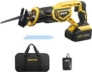 Reciprocating Saw, Morgan's Power 20V MAX Cordless with 3.0Ah Battery & 1hr Fast Charger, Includes 2 Quality Saw Blades