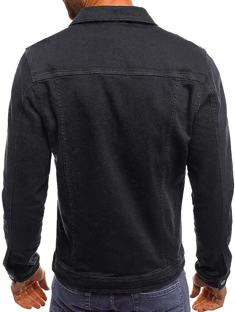 Mens Denim Jacket, Men's Denim Solid Color Vintage Jacket Casual Button Down Ripped Jeans Jacket Coat Outwear Top Blouse