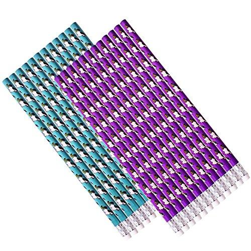 TE-Trend 24 Pièce Crayons à Papier Schreibstifte Licorne Design Avec Gomme à Effacer 19cm