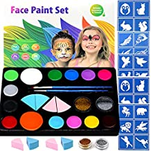 Halloween Face Painting Kits for Kids, 30 Stencils,14 Colors Face Paints,2 Glitters, Halloween Easter Makeup Kit, Professional Party Cosplay Body Paint Set Safe for Sensitive Skin
