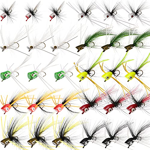 30 Pieces Fishing Lures Kit Bass Poppers Lures Colorful Fishing Bait...
