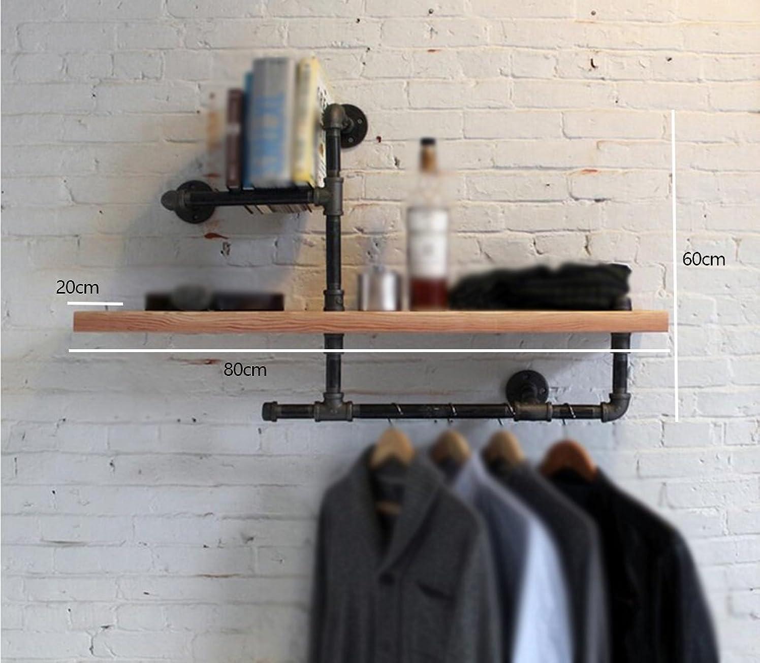 PLLP Wall Decoration, Wall Storage Shelf,Retro Style Bookshelf Iron Display Stand Industrial Pipe Wall Hanging Rack,Household Wall Shelf