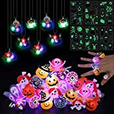 FunsLane 54 Pcs Halloween LED Light Up Rings & Necklaces,Glow Tattoos Stickers for Kids,Glow in The Dark Halloween Party Supplies, Soft Rubber Decoration Halloween Treats Goodie Bag Fillers