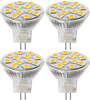 MR11 GU4.0 Bombillas LED, 20W Bombillas Halógenas Equivalente, GU4 Base, 12V AC/DC Blanco cálido, 3000K, 2W Mini Spot luz Bombillas LED (4 unidades)