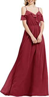 Jonlyc Women's V Neck Cold-Shoulder Ruffles Long Chiffon Bridesmaid Dress