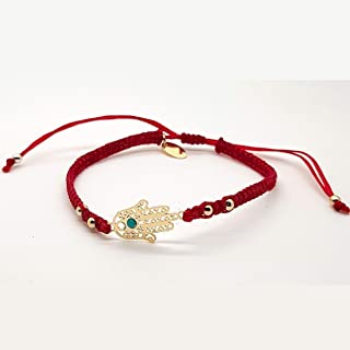 BARBARI Jewelry Gold Plated 18K Hamsa Bracelet   Handmade Gift for Her + FREE Organza Bag! Bat Mitzvah Jewish Israeli Gift- High Quality Kabbalah Fatima Hand pendant Lucky Red String Bangle