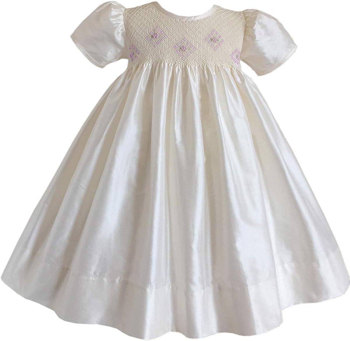 Smocked First Communion Dresses Flower Girls Silk Dress Ivory Smocking