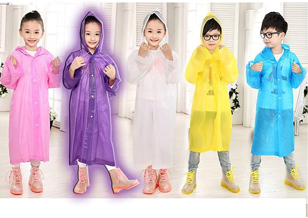 91115cm White KINDOYO Unisex Kids Hooded Raincoat Childrens Waterproof Poncho Rain Cape