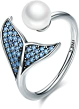 Amaer Dolphin Ring S925 Sterling Silver Dolphin Tail Adjustable Finger Ring for Women Girls Open Eternity Pearl Ring High Polished White Gold