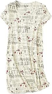 Women's Cotton Nightgown Sleepwear Short Sleeves Shirt Casual Print Sleepdress