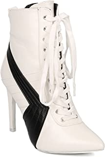 Cape Robbin Women Leatherette Pointy Toe Sports Stripe Lace Up Stiletto Bootie HJ57