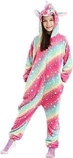 DRESHOW Unicornio Pijamas de un Pieza para Niños Niñas, Unicornio Pijama Ropa de Dormir Invierno de Cosplay Pyjamas Navida...