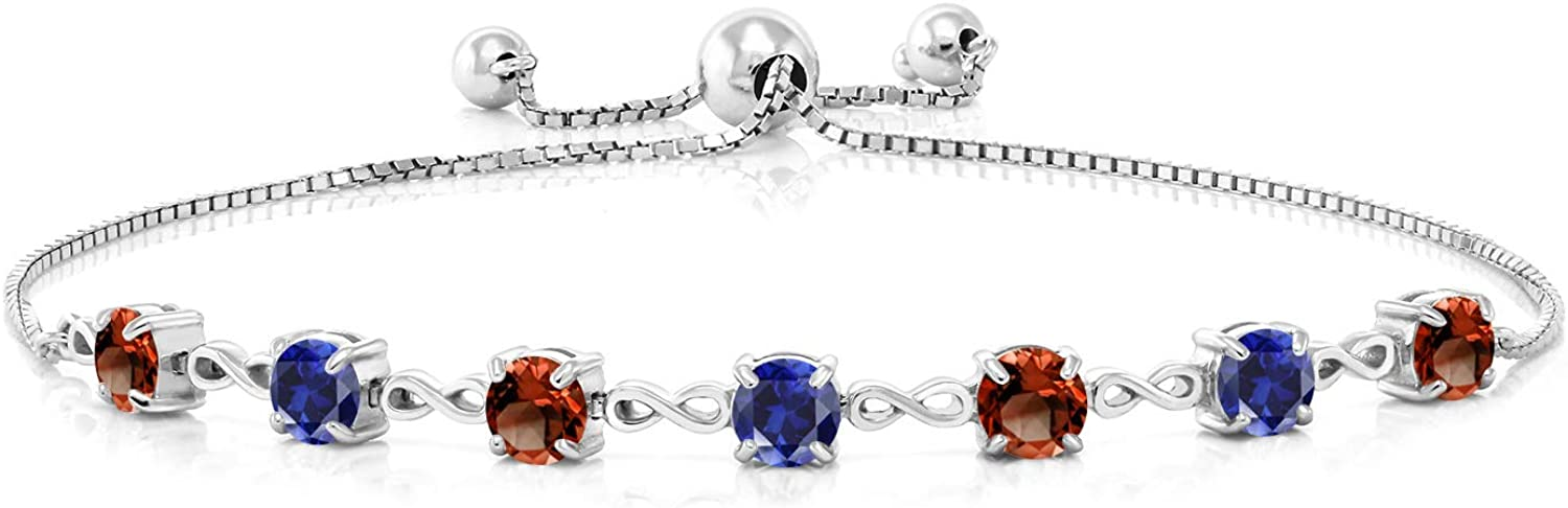 Gem Stone King 925 Sterling Silver Red Garnet and Blue Created S