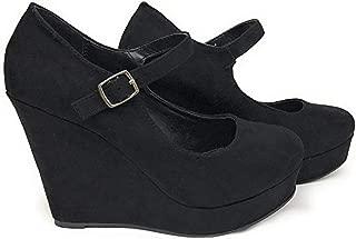 City Classified Womens Mark Thomas Mary Jane Strap Comfortable Office Dress Platform Wedge Heel MVE Shoes,