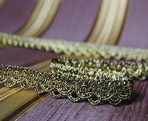 Mosel Avenue Art & Gobelin Studio 5,0 m x Luxus Metallisiertes Zierband 15 mm Lurex Schwarz-Gold Bordüre Brokat Goldborte Schmuckband Lurexband...